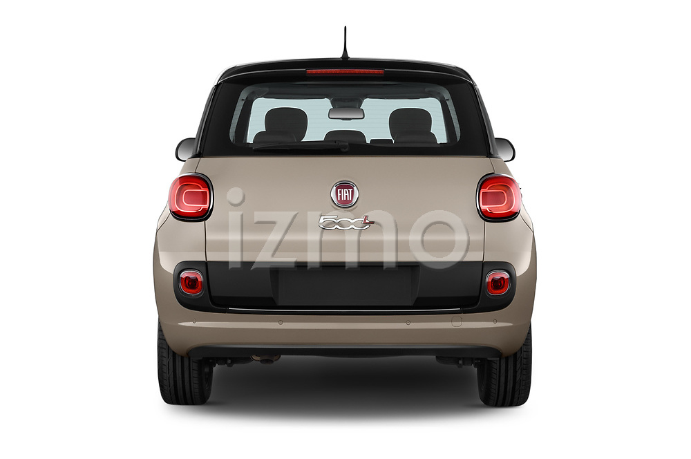 Straight rear view of 2017 Fiat 500L Lounge 5 Door Mini MPV Rear View  stock images