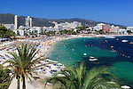Spain, Mallorca, Magaluf: View over Magaluf beach resort   Spanien, Mallorca, Magaluf: beliebter Badeort und Strand in der Naehe von Palma de Mallorca