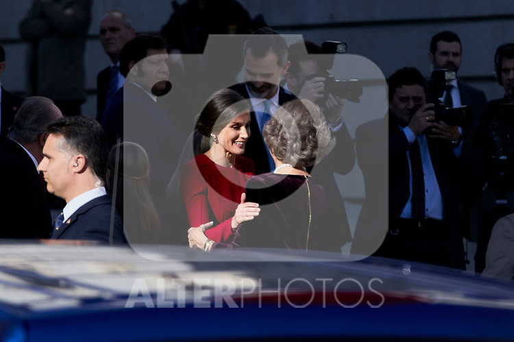 Queen Letizia Ortiz of Spain and Former Queen Sofia of Spain attends to 40 Anniversary of Spanish Constitution at Congreso de los Diputados in Madrid, Spain. December 06, 2018. (ALTERPHOTOS/A. Perez Meca)
