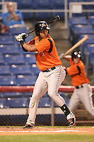Bowie Baysox outfielder Garabez Rosa (2) at bat during a game against the Binghamton Mets on August 3, 2014 at NYSEG Stadium in Binghamton, New York.  Bowie defeated Binghamton 8-2.  (Mike Janes/Four Seam Images)