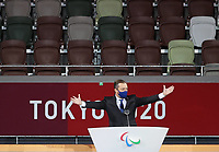 5th September 2021; Tokyo, Japan, 2020 Paralympic Games, closing ceremony: Andrew Parsons, president of the International Paralympic Committee IPC, speaks during the closing ceremony