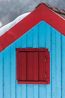 Europe/France/Franche-Comté/25/Doubs/Les Grangettes: Lac de Saint-Point, Port Titi - Détail des cabanons des pêcheurs - L'histoire de Port Titi, c'est celle de quelques amis pêcheurs qui ont construit des cabanons au début du siècle dernier pour se retrouver à pêcher le brochet le week-end ou lors des vacances   // France, Doubs, Port Titi village at the Saint Point lake