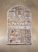 "Ancient Egyptian stele odedicated to Amon Re the ""good Ram"" by foreman Baki, limestone, New Kingdom, 19th Dynasty, (1290-1213 BC), Deir el-Medina, Drovetti cat 1549. Egyptian Museum, Turin. Reign of Ramesses II.<br /> <br /> This round-topped stele is carved in low relief and painted <br /> in several colours. The pictorial plane is divided into two <br /> registers, the upper one containing two rams facing each <br /> other. The animals, with cobras rising on their foreheads, <br /> wear tall headdresses composed of two tall plumes with a <br /> solar disk at the centre. Between them is a small offering <br /> table with lotus flowers. The mirror image hieroglyphic <br /> inscription refers to the rams and reveals their divine <br /> nature as that of Amun-Ra. In the register below, <br /> foreman Baki is shown in the pose of adoration."
