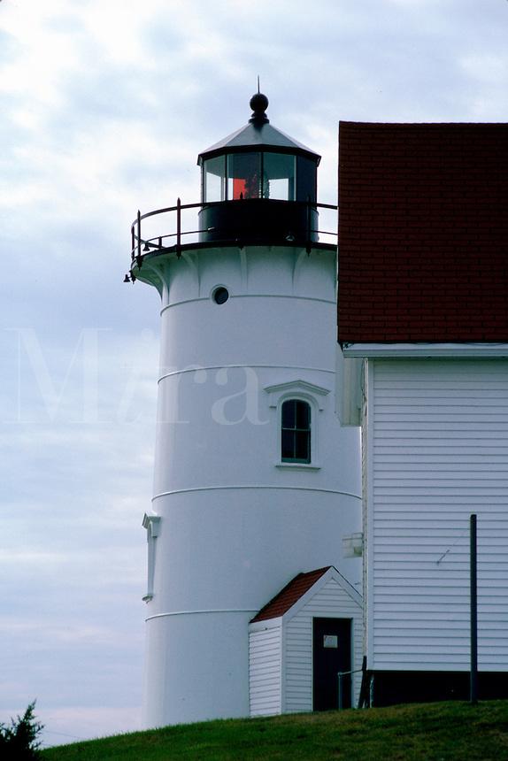 Rear view of the Nobska Lighthose. Woods Hole, Massachusetts.