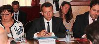 Martine Pinville & Emmanuel Macron - Reunion avec les acteurs economiques de la ville de Nice et de la rÈgion PACA apres l'attentat de Nice.