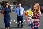 """Megan Doyle winner of the Garvey's Supervalu """"Making A Meal Of It"""" competition, receiving a €500 Supervalu voucher and a bouquet of flowers on Tuesday. Front right: Megan Doyle. Back l to r; Mary Lucey and John Reilly (Assist Manager Garvey's Supervalu)."""