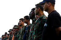 Colombian paramilitary fighters (AUC) during the rehearsal for the demobilization ceremony in a jungle settlement Casibare, in the Meta Department, Colombia, 9 April 2006.