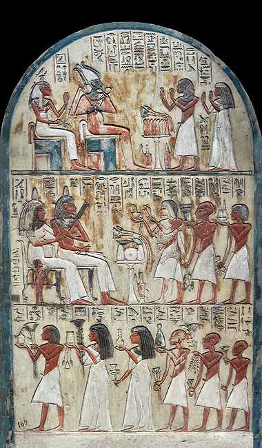 Ancient Egyptian funerary stele of painter Maya, limestone, New Kingdom, 18th Dynasty, (1336-1292 BC), Deir el-Medina,  Egyptian Museum, Turin.  Drovetti cat 1579. Black background<br /> <br /> <br /> In the upper portion Maya and his wife Tamit pay homage to Osiris and Hathor, the gods of the necropolis. In the lower register is a similar scene in which his wife recieves food offerings from their many children, as was traditional at the time.