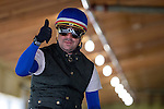 JUNE 5, 2015: American Pharoah exercise rider George Alvarez in the barn after morning workouts in preparation for the 147th running of the Belmont Stakes at Belmont Park in New York, NY. Jon Durr/ESW/CSM