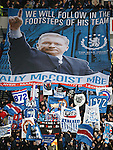 Rangers fans unfurl a tribute to manager Ally McCoist as the teams emerge