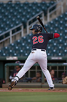AZL Indians 1 left fielder Miguel Jerez (26) at bat during an Arizona League game against the AZL White Sox at Goodyear Ballpark on June 20, 2018 in Goodyear, Arizona. AZL Indians 1 defeated AZL White Sox 8-7. (Zachary Lucy/Four Seam Images)