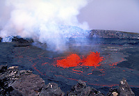 Kilauea Volcano - splatter cone and lava lake inside of Pu'u o'o vent. Hawaii, Volcanoes National Park.