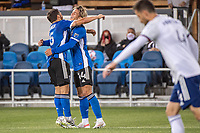SAN JOSE, CA - MAY 01: Eric Remedi #5 of the San Jose Earthquakes congratulates Cade Cowell #44 of the San Jose Earthquakes during a game between San Jose Earthquakes and D.C. United at PayPal Park on May 01, 2021 in San Jose, California.
