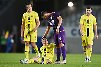 30th May 2021; Auckland, New Zealand;  Cam Devlin is helped up after a tackle. Wellington Phoenix versus Perth Glory, A-League football at Eden Park.