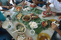 PHILIPPINES Palawan, meal with rice crab fish vegetables on banana leaf / Philippinen Palawan, Reisgericht mit Fisch Krabben Gemuese auf Bananenblatt