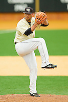 Wake Forest Demon Deacons relief pitcher Niko Spezial #27 in action against the Florida State Seminoles at Wake Forest Baseball Park on March 25, 2012 in Winston-Salem, North Carolina.  The Demon Deacons defeated the Seminoles 7-5.  (Brian Westerholt/Four Seam Images)