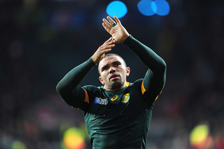 Bryan Habana of South Africa salutes fans after winning the Quarter Final of the Rugby World Cup 2015 between South Africa and Wales - 17/10/2015 - Twickenham Stadium, London<br /> Mandatory Credit: Rob Munro/Stewart Communications