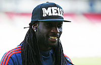 Marvin Emnes of Swansea City wears a personalised cap before the Barclays Premier League match between AFC Bournemouth and Swansea City played at The Vitality Stadium, Bournemouth on March 11th 2016
