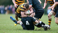 Saturday 18th February 2017 | CCB vs RBAI<br /> <br /> Neil Saulters is tackled by Jack Stinton during the Ulster Schools' Cup Quarter Final clash between Campbell College Belfast and RBAI at Foxes Field, Campbell College, Belmont, Belfast, Northern Ireland.<br /> <br /> Photograph by John Dickson | www.dicksondigital.com