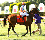 July 05, 2014: Xcellence (FR) with G Mosse in the 36th running of the Grade I Belmont Oaks Invitational Stakes for 3-year old fillies, going 1 1/4 mile on the inner turf at Belmont Park. Sue Kawczynski/ESW/CSM