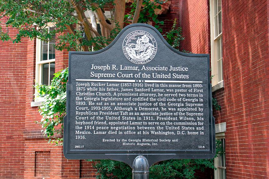 Historic plaque law office of Joseph Lamar in Augusta Georgia