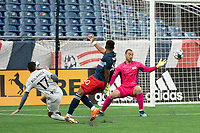 FOXBOROUGH, MA - APRIL 17: Jonathan Bolanos #17 of Richmond Kickers scores the first Richmond goal of the night during a game between Richmond Kickers and Revolution II at Gillette Stadium on April 17, 2021 in Foxborough, Massachusetts.