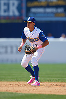 Wilmington Blue Rocks shortstop Nicky Lopez (7) during the first game of a doubleheader against the Frederick Keys on May 14, 2017 at Daniel S. Frawley Stadium in Wilmington, Delaware.  Wilmington defeated Frederick 10-2.  (Mike Janes/Four Seam Images)