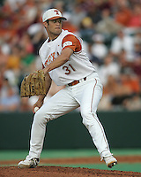 Texas Freshman Pitcher Chance Ruffin delivers against Texas A&M on May 16th, 2008 in Austin Texas. Photo by Andrew Woolley / Baseball America...