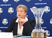Shona Robison, Scotland's Minister for Commonwealth Games and Sport announces that Blairgowrie Golf Club will host the Junior Ryder Cup in 2014. The press converence took place during the second round of the 2012 Johnnie Walker Championships which are being played over the PGA Centenary Course at Gleneagles from 23rd to 26thh August 2012: Picture Stuart Adams www.golftourimages.com: 24th August 2012
