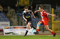 Loes Van Mullem (33) of Eendracht Aalst pictured in a duel with Celine Verdonck (27) of Woluwe during a female soccer game between FC Femina White Star Woluwe and Eendracht Aalst on the sixth matchday in the 2021 - 2022 season of Belgian Scooore Womens Super League , friday 8 th of october 2021  in Woluwe , Belgium . PHOTO SPORTPIX | KRISTOF DE MOOR