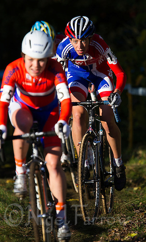 03 NOV 2012 - IPSWICH, GBR - Helen Wyman (GBR) (right) of Great Britain follows Sanne van Passen of the Netherlands during the Elite Women's European Cyclo-Cross Championships in Chantry Park, Ipswich, Suffolk, Great Britain (PHOTO (C) 2012 NIGEL FARROW)