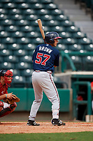 Atlanta Braves Logan Brown (57) at bat during a Florida Instructional League game against the Canadian Junior National Team on October 9, 2018 at the ESPN Wide World of Sports Complex in Orlando, Florida.  (Mike Janes/Four Seam Images)