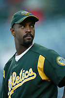 Billy McMillion of the Oakland Athletics during a 2003 season MLB game at Angel Stadium in Anaheim, California. (Larry Goren/Four Seam Images)