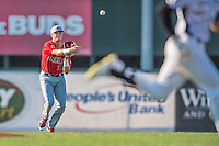 4 September 2016: Lowell Spinners infielder Bobby Dalbec in action against the Vermont Lake Monsters at Centennial Field in Burlington, Vermont. The Spinners defeated the Lake Monsters 8-3 in NY Penn League action. Mandatory Credit: Ed Wolfstein Photo *** RAW (NEF) Image File Available ***