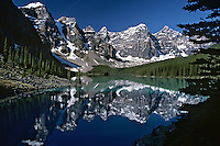 Moraine Lake in Valley of the Ten Peaks, Banff National Park, Alberta, Canada.  Summer.