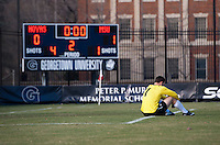 Tomas Gomez (1) of Georgetown sits on the field after the third round of the NCAA tournament at Shaw Field in Washington, DC. Michigan State defeated Georgetown, 1-0.