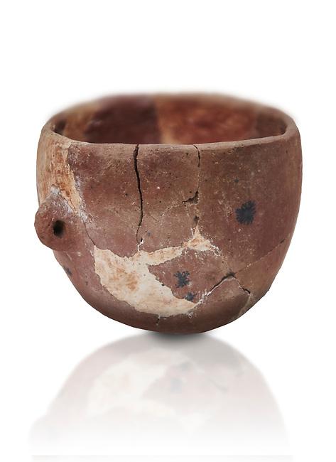 Neolithic terracotta bowl. Catalhoyuk collection, Konya Archaeological Museum, Turkey. Against a white background