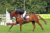 5th September 2021; Bicton Park, East Budleigh Salterton, Budleigh Salterton, United Kingdom: Bicton CCI 5* Equestrian Event; Gemma Tattersall riding Chilli Knight hugs her horse after a final clear round and win