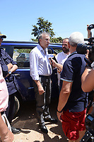 Pictured: Pathologist Nikos Karakoukis speaks to members of the media in Ikaria, Greece. Thursday 08 August 2019<br /> Re: Rescuers searching for  British scientist Natalie Christopher, 35, who disappeared on the  island of Ikaria, Greece have found her body at the bottom of a ravine.<br /> She was found less than a mile from the hotel in the Kerame area where she was on holiday with her Cypriot partner.<br /> Emergency service staff said that a large rock had dislodged as she fell, causing multiple head injuries.<br /> The woman's body will be kept overnight at the spot so a coroner can examine it on Thursday morning.