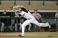 South Florida Bulls third baseman Kyle Copack #12 makes a running catch during a game against the Illinois State Redbirds at the USF Baseball Complex on March 14, 2012 in Tampa, Florida.  South Florida defeated Illinois State 10-5.  (Mike Janes/Four Seam Images)