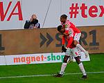 Fussball-Bundesliga - Saison 2020/2021<br /> Opel-Arena Mainz - 7.11.2020<br /> 1. FSV Mainz 05 (mz) - Schalke 04 (s04)<br /> Jubel nach dem 2:1: Torschütze Jean-Philippe MATETA (1. FSV Mainz 05),li, und Leandro BARREIRO (1. FSV Mainz 05)<br /> <br /> Foto © PIX-Sportfotos *** Foto ist honorarpflichtig! *** Auf Anfrage in hoeherer Qualitaet/Aufloesung. Belegexemplar erbeten. Veroeffentlichung ausschliesslich fuer journalistisch-publizistische Zwecke. For editorial use only. DFL regulations prohibit any use of photographs as image sequences and/or quasi-video.