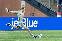 FOXBOROUGH, MA - OCTOBER 3: Joe Willis #1 of Nashville SC clears the ball during a game between Nashville SC and New England Revolution at Gillette Stadium on October 3, 2020 in Foxborough, Massachusetts.