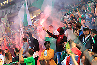 25th September 2021; Saint-Etienne Stade Geoffroy Guichard, France; AS Saint-Etienne versus OGC Nice; Fans light flares and show their support