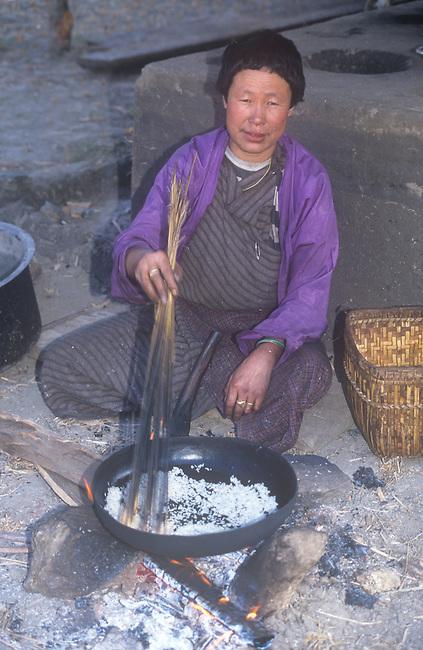 Woman Cooking Rice, Bhutan