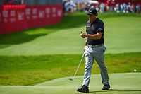 4th July 2021, Detroit, MI, USA;  Phil Mickelson (USA) gives a thumbs up to the crowd gathered around the green on 18 during the Rocket Mortgage Classic Rd4 at Detroit Golf Club on July 4,