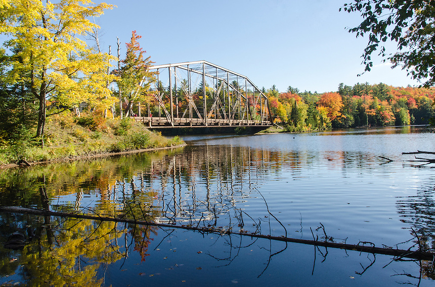 A view of the beautiful autumn colors at the old County Road 510 bridge west of Marquette, Michigan.