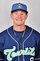 Asheville Tourists outfielder Will Golsan (8) during media day at McCormick Field on April 2, 2019 in Asheville, North Carolina. (Tony Farlow/Four Seam Images)