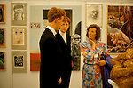 Eton College on the 550th anniversary of the school. 1990, parents with sons in art school exhibition.