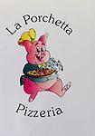 Sign, La Porchetta Restaurant, London, city, England, UK, United Kingdom, Great Britain, Europe, European
