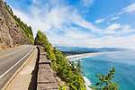 View of Manzanita beach from Rockwork Viewpoint, Tillamook County, Oregon, Unitd States, U.S. Route 101 Use of this image licensed exclusively by Spaces Images, www.spacesimages.com.